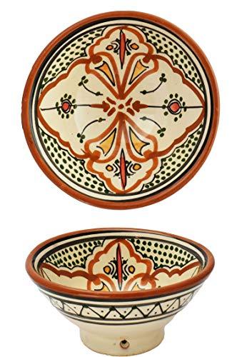Orientalische Keramikschale Keramikteller Rund Amaru Ø 16cm Groß | farbige marokkanische Keramik Schale Teller bunt aus Marokko | Orient große Keramikschalen flach Geschirr orientalisch handbemalt
