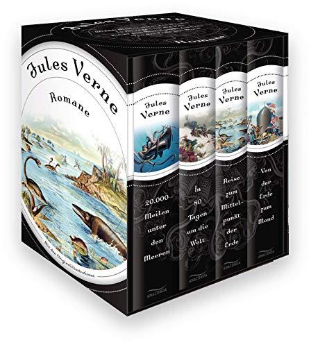 Jules Verne - Romane (Vier Bände im Schuber): 20.000 Meilen unter den Meeren - In 80 Tagen um die Welt - Reise zum Mittelpunkt der Erde - Von der Erde zum Mond