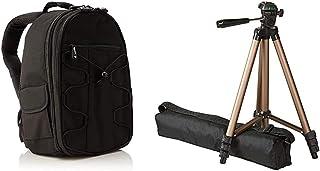 AmazonBasics - Mochila para cámara réflex y Accesorios Color Negro + Trípode Ligero para fotografía (127cm)