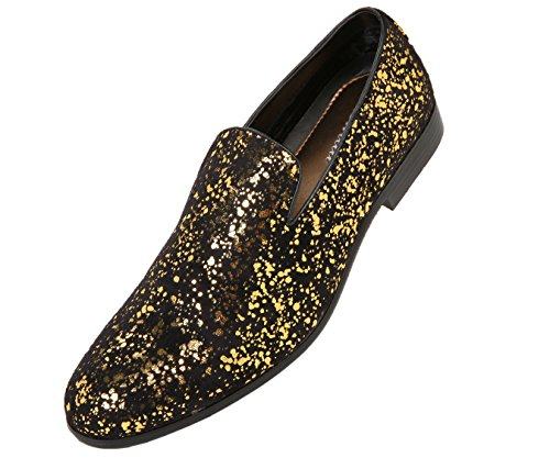 Amali Morris, Men's Slippers - Tuxedo Shoes - Loafers for Men, Slip On Shoes - Mens Casual Shoes - Designer Shoes for Men with Metallic Pattern, Gold Size 7.5, Runs Large - Size A Full Size Down