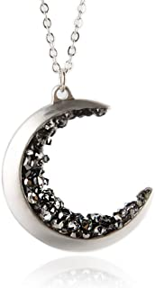 Crescent Moon and Black CZ Necklace, 25 inches