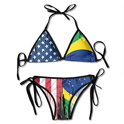 AmyNovelty Bikini Set,Badeanzug,Damen Badeanzug,Zweiteilige Bikini,Badeanzüge,Bademode,Schwimmanzug,Amerikanische Brasilien Flagge Druck Bikini Set Mode Sexy Frauen Einstellbar Beachwear Badeanzug
