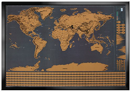 Wonderful Maps Scratch Off World Map. Perfect for Travelers. With Country Flags, US States, Australian States And Canadian Provinces On Black Background. Prime Deluxe Scratch-Off World Map