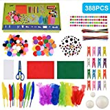 Faburo 388psc Kit de Manualidades para niños, Pipe Cleaners Crafts Set Pompones Ojos Manualidades Kit Crafts Set y Pipe Cheners para DIY Art Supplies Creativo Regalo Manualidades Labores para Niños