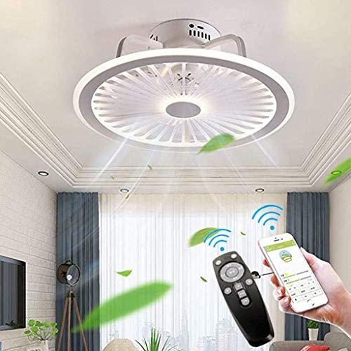 OMGPFR Stumm Deckenventilator Licht mit Lichtern und Fernbedienung Ultradünne 18CM Deckenlampe Unsichtbare Ruhe LED dimmbar Deckenventilatoren Beleuchtung für Wohnzimmer Schlafzimmer,Weiß