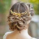 Simsly Bride Hochzeit Haarteil Gold Blätter Brautschmuck Hochzeit Haarschmuck Party für Frauen und Mädchen
