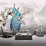 Papel Pintado Fotomurales MuralesPapel pintado grande personalizado mural chino agua corriente fortuna tridimensional relieve azul pavo real magnolia flowe-Aproximadamente 250 * 175 cm