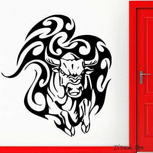 JUDING Etiqueta de la Pared del Toro Animal Tatuaje taurino Tatuajes Tribales de Vinilo Enojado Vaca Pared hogar Dormitorio Sala de Estar decoración 56x59 cm