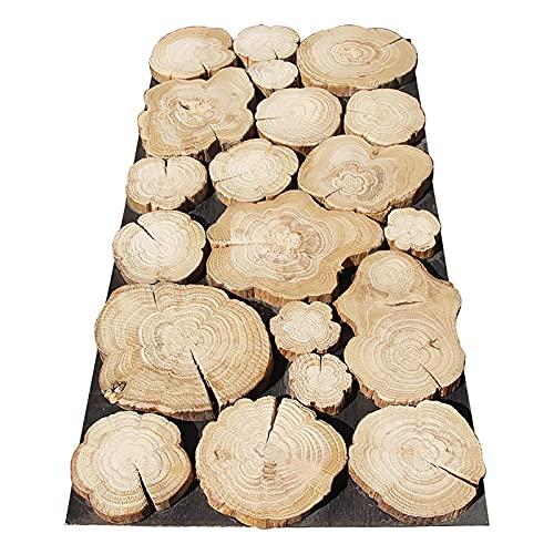 AIMU Paneles de pared de arte en 3D - 1m² / 5m² / 10m² Flores de madera Anillo anual Textura Gran círculo de madera maciza Decoración de mosaico adecuado para fondo de TV Interior de pared Decoración
