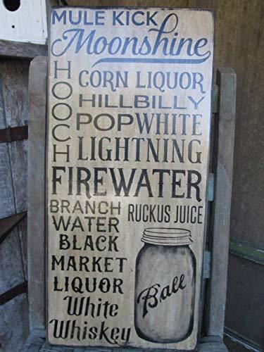Moonshine Maiskolben Weiß Lightning Man Cave Bar Pub Cabin Rustikal 18 in Holzschild Basteln für Wohnzimmer Deko