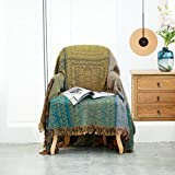 Heather Touch 100% Cotton Blanket 78x90 Boho Oversized Throw Chair Covers with Tassels Lightweight Breathable Decorative Bed Blanket 4 Layers Muslin Couch Slipcover Sofa Protector Green