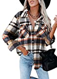 Dokotoo Classic Plaid Button Up Shirts for Women Roll Up Long Sleeve Flannel Tops Turn Down Collar Soft Checked Loose Boyfriends Baggy T-Shirt Outerwear for Ladies Office Jacket Blue S