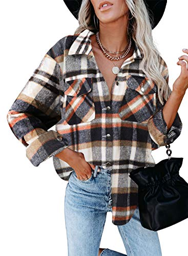 Dokotoo Classic Plaid Button Up Shirts for Women Roll Up Long Sleeve Flannel Tops Turn Down Collar Soft Checked Loose Boyfriends Baggy T-Shirt Outerwear for Ladies Office Jacket Blue 2XL