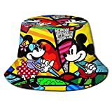 Bucket Hat Mickey and Minnie Mouse Bucket Sun Hat para Hombres Mujeres -Protección Gorra de Pescador de Verano Empacable para Pesca, Safari, Paseos en Bote en la Playa Negro
