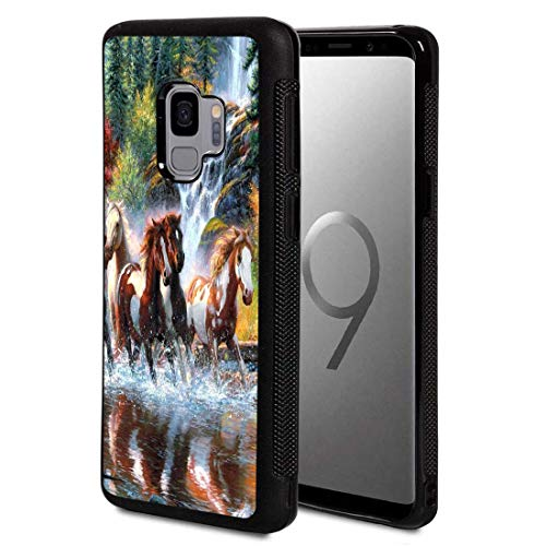 Galaxy S9+ Plus Case,Vobber Shockproof Architecture Hard Shell TPU Protective Case Cover for Samsung Galaxy S9+ Plus 2018,Running Horses