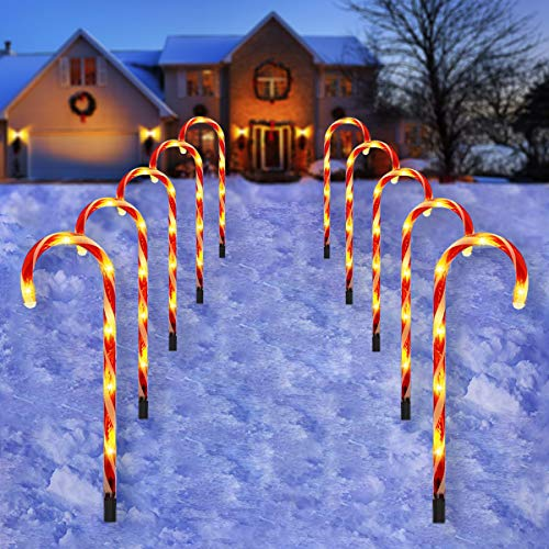 Candy Cane Outdoor Landscape Lights - 10 Pack 60 LEDs 21in Lighted Christmas Path Lights String with 8 Modes Memory Function End-to-End Plug in Waterproof Red Candy Cane Outdoor Christmas Decorations