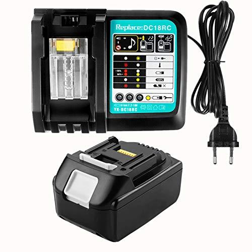 Batería de repuesto de 18 V y 3 Ah con cargador para Makita DGA504Z, DLM432Z, taladro inalámbrico DHR171Z, cortasetos Makita DUH523Z