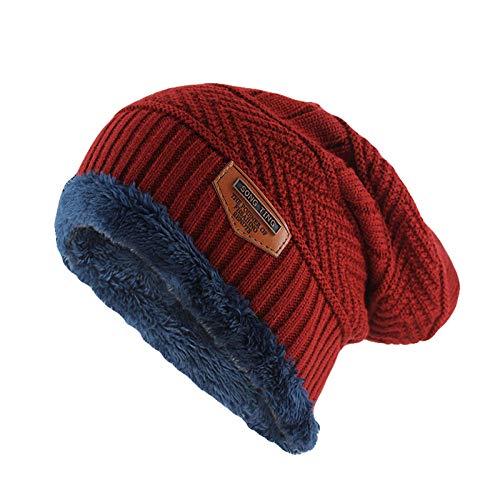 Bonnet Unisexe Chapeau tricoté Homme Beanie Hats, Bonnets d'hiver Chaud Skullies Mode Hommes Lettre Chapeau Coton Femmes Tricoté Os Doux Mâle @ Red_52-62cm