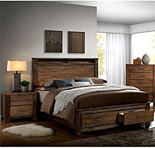 Furniture of America Nangetti Rustic 2 Piece Queen Bedroom Set in Oak