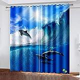 XKSJWY Cortinas Habitacion Dormitorio 3D Delfín Surf Creativo Patrón Cortinas...