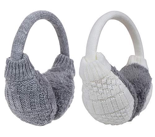 Earmuffs Ear Warmers For Women Winter Fur Foldable Ear Warmer (K3-white + grey earmuff)