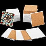 24 Pieces Ceramic Tile Unglazed Ceramic Coaster 4 Inch White Square Ceramic Tile and 24 Pieces Cork Backing Pad Self-Adhesive Corks for Ink or Acrylic Pouring, DIY Coaster, Painting Project