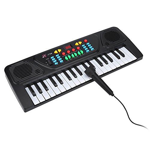 Kinder Klavier, Elektronisches Keyboard Tastatur Piano mit Mehrfachklänge und Rhythmen Musikklavier Spielzeug mit 37 Tasten Klavier Tastatur und Mini Mikrofon für Jungen Anfänger Mädchen Kinder