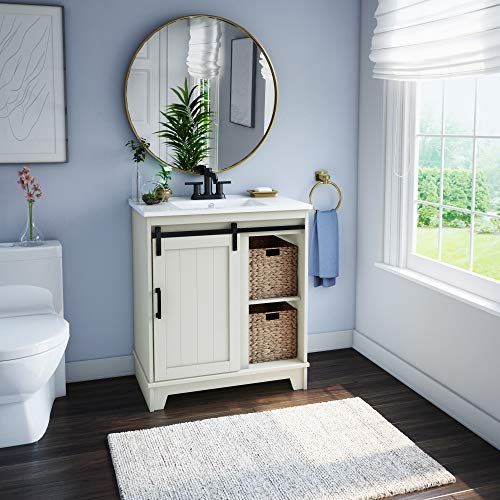 "Pamari Cassara 30"" Single Bathroom Vanity with Sliding Barn Door and White Sink"