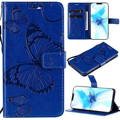 Capa XYX LG K40, capa carteira para LG K40, [borboleta grande] capa protetora flip carteira de couro PU para LG K40/LG Solo LTE/LG K12 Plus/LMX420/LG X4 2019 - azul
