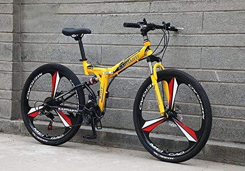 N&I Bicicleta de montaña plegable para adultos, de acero de alto carbono, con doble disco, suspensión completa, para hombres y mujeres, de 26 pulgadas, 27 velocidades y 26 pulgadas