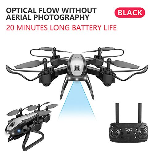 SSSabsir Drone Ky909 Hd 4k Wifi Video Live Fpv Drone Light Flow Keep Height Quad-axis Aircraft One-button Take-off Drone with Box black Without camera (color box)