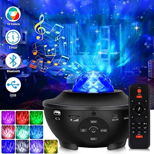 LED Sternenhimmel Projektor, Sternenlicht Projektor, Fernbedienung 10-Farben-Ambiente mit Bluetooth-Musiklautsprecher für Babykinder Schlafzimmer für Erwachsene Geburtstag Tiefschlaf