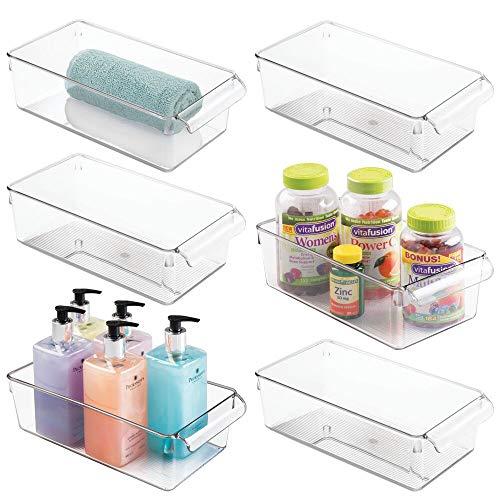 mDesign Juego de 6 organizadores de baño – Cajas con asa integrada – Bandejas de plástico para guardar jabón, lociones, cosméticos, toallas, etc. – transparente