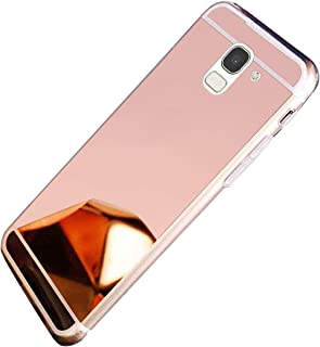 Herbests Etui na telefon komórkowy Samsung Galaxy J6 2018, etui na telefon komórkowy, lustrzane etui, przezroczyste, miękk...