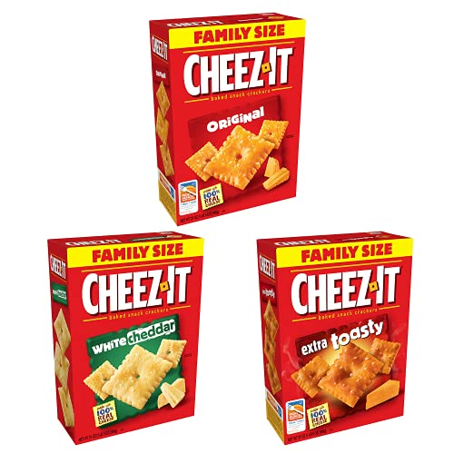 Cheez-It Baked Snack Cheese Crackers, 3 Flavor Variety Pack, White Cheddar (1 Box), Original (1 Box) and Extra Toasty (1 Box)