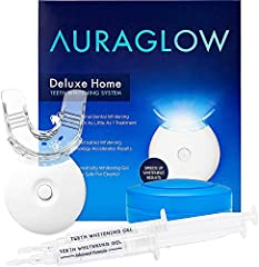 Teeth whitening kit includes accelerator light that speeds up the whitening process. LED light contains 5 bulbs for more power and has a built-in timer with beeper so you can easily keep track of your whitening session time. Kit includes (2) 5mL teet...