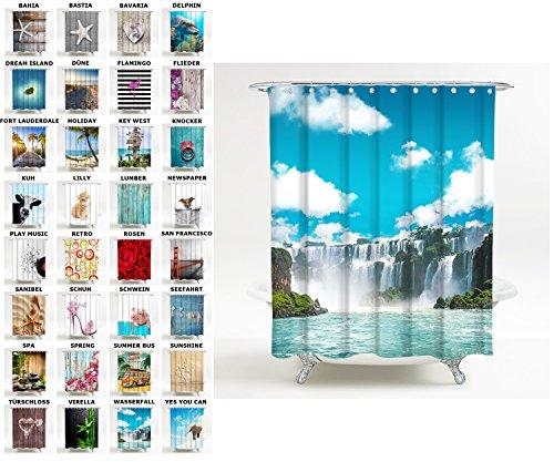 Sanilo Duschvorhang, viele schöne Duschvorhänge zur Auswahl, hochwertige Qualität, inkl. 12 Ringe, wasserdicht, Anti-Schimmel-Effekt (180 x 200 cm, Wasserfall)