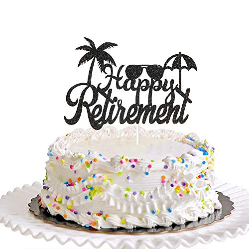 Dill-Dall Black Happy Retirement Cake Topper, Retirement Party Decorations Supplies, Retired AF Sign, Retirement Decor for Men or Women