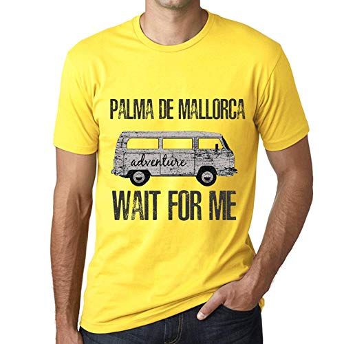 One in the City Hombre Camiseta Vintage T-Shirt Gráfico Palma DE Mallorca Wait For Me Amarillo