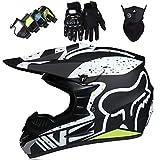 Casco de Moto, Set de Casco de Moto de Motocross de Integrales para Niños y Adultos (Gafas + Guantes + Máscara) para Scooter Eléctrico Dirt Bike MTB MX ATV con Diseño Fox - Homologado DOT - Negro Mate