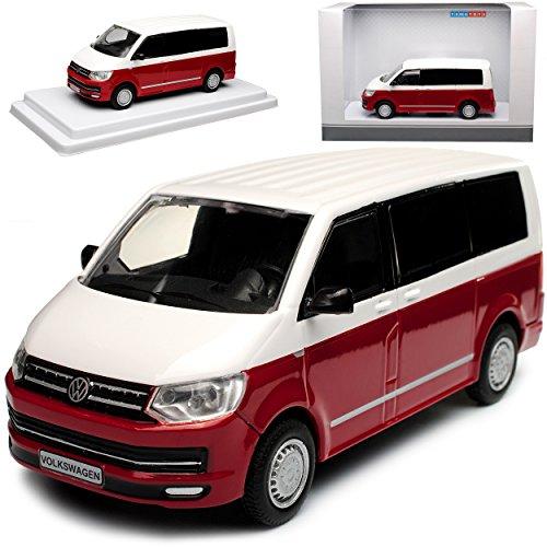 Unbekannt Volkwagen T6 Weiss Rot Personen Transporter T5 Ab 2. Facelift 2015 1/43 Modellcarsonline Modell Auto mit individiuellem Wunschkennzeichen