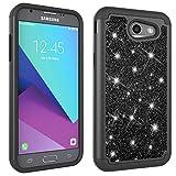 Galaxy J3 Emerge Case,J3 Eclipse Case,J3 Prime Case,J3 Mission Case,J3 2017/J3 Luna Pro/Amp Prime 2 Case,Vfunn [Evening Series] Color Glittering Elegant Protective Cover w Pink Stylus (Black)