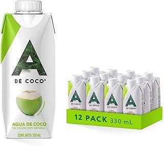A de Coco - Agua de Coco 330 ML 100% Natural, Paquete de 12