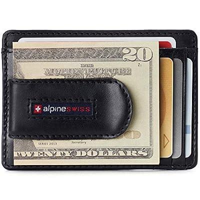 Alpine Swiss RFID Dermot Money Clip Front Pocket Wallet For Men Leather Hampton Collection Glossy Nappa Black