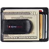Alpine Swiss Dermot Mens RFID Safe Money Clip Front Pocket Wallet Leather Comes in Gift Box Black