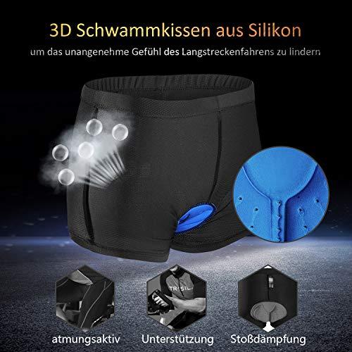 JXJFOZ Radunterhose Herren Gel, Fahrradhose Gepolstert Funktionsunterwäsche Atmungsaktiv 3D Unterhose für Radfahren Reiten Tour (L) - 4