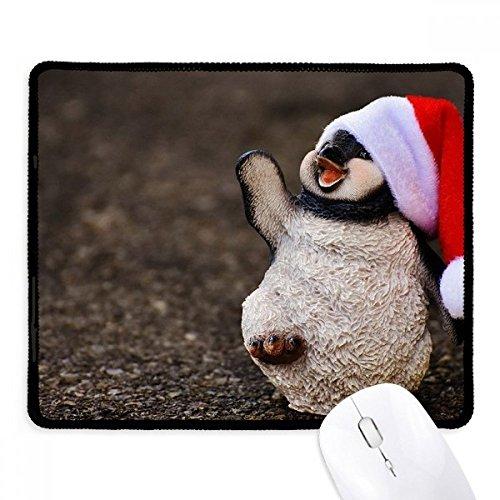Antarctische pinguïn kerstmuts natuur antislip muismat spel kantoor zwart Titched Edges geschenk