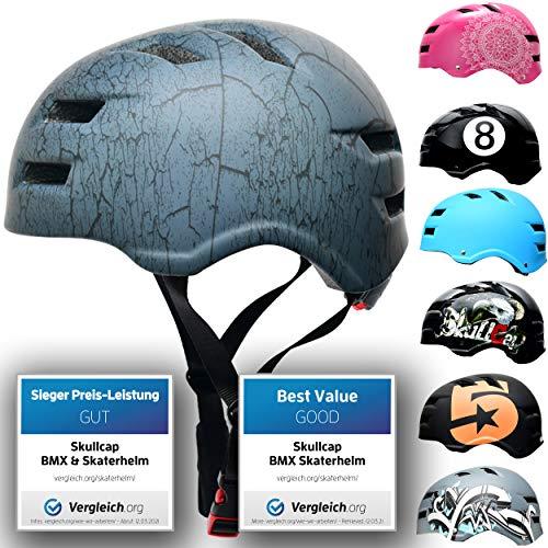 SkullCap Casco de Skate y BMX - Bicicleta Y Scooter Eléctrico, Diseño: Crack, Talla: L (58-61 cm)