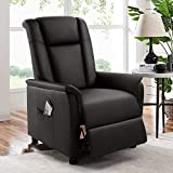 BOSSIN Single Recliner Chair Sofa Padded Seat PU Leather Living Room Sofa Recliner Modern Recliner Seat Club Chair Home Theater Seating with Pocket(Leather, Black)