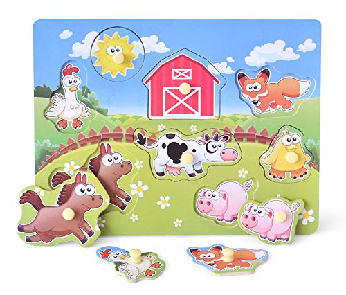 Wooden Peg Puzzle  Farm Chunky Baby Puzzles  Full-Color Pictures Wood Shape Puzzle Peg Board  Animal Knob Puzzle for Educational Toddlers 18Months and up  8 Pieces